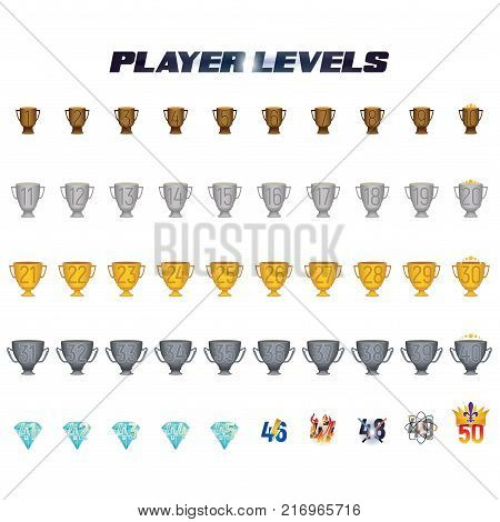 Player Levels from 1 to 50 useful in the gaming industry