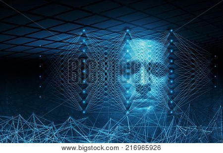 Artificial intelligence conceptual digital illustration with neural network structures and blue human face 3d render