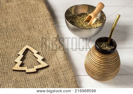 Yerba mate Christmas background. Yerba mate Christmas concept