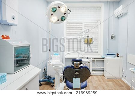 Metal tools for dentists in the dental office