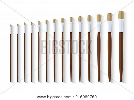 set of long filbert paint brush, stationary collection of color painting accessory, artist tools, vector illustration