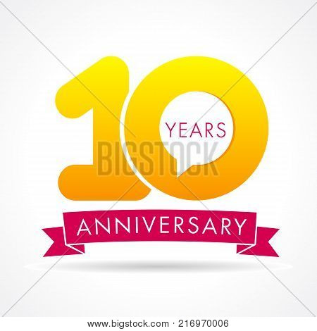 10 years anniversary communication logo. 10th year birthday logotype label, yellow vector number sign and pink ribbon isolated