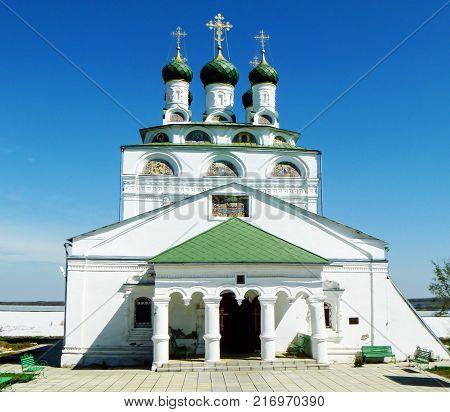 Cathedral on territory Reverently-Bogoyavlenskogo male priory in village MsteraRussia.Landscape on background blue sky