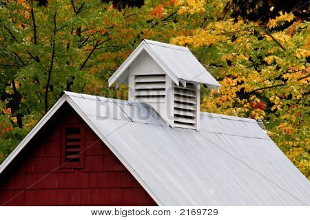 Barn Roof In Fall