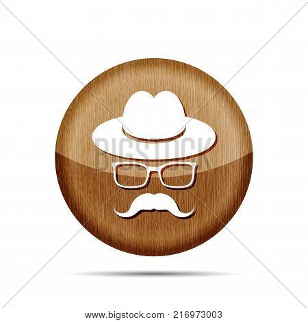 wooden hat with mustache and glasses isolated on a white background