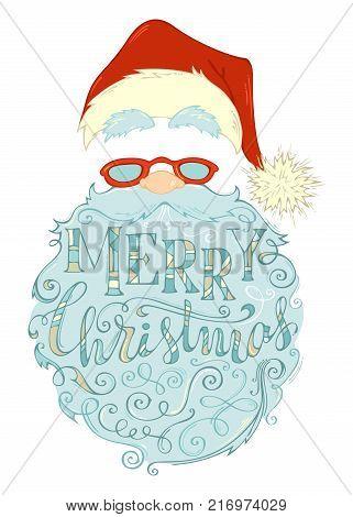 Merry Christmas Lettering In Santa Claus Beard.