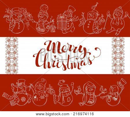Vector red Merry Christmas background with cute snowmen. Snowmen are skiing, singing and skating. Candy cane, gift, garland, Christmas sock and baubles, birds. There is copy space on white background.