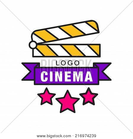 Colorful cinema or movie logo template creative design. Cinematography or film industry emblem concept with clapperboard, stars and ribbon with text. Flat line style vector icon illustration.