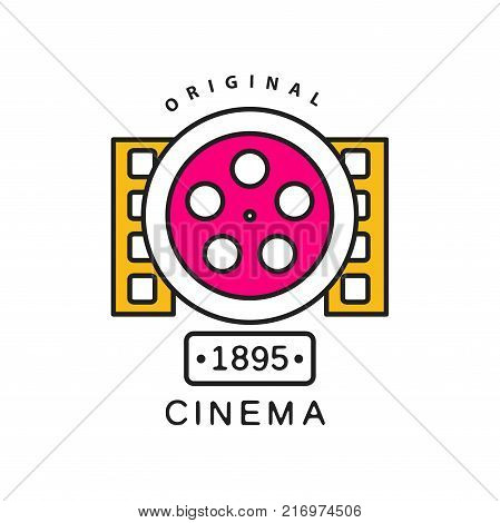 Colorful creative design of cinema or movie logo template. Film industry label concept with big retro reel and filmstrips. Black outline with pink and yellow fill. Flat line vector icon illustration.