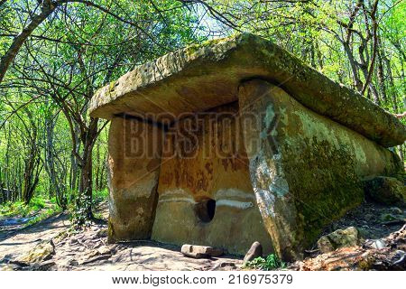 Close up beautiful stone dolmen on sunny day