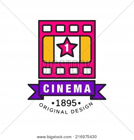 Stylish colorful creative logo design template for cinema or movie company. Film industry concept with old vintage retro pink filmstrip and purple ribbon. Flat line style vector icon illustration.