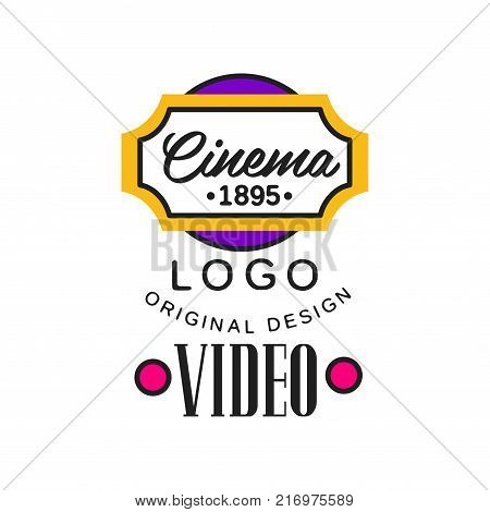 Colorful video company or movie business logo template creative design. Cinematography and film industry concept with abstract cinema ticket frame with text. Flat line style vector icon illustration.