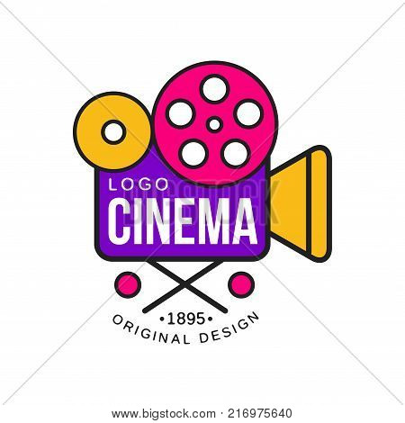 Colorful cinema or movie company logo template creative design with old vintage retro camera with reels. Cinematography and film industry label concept. Flat line style vector icon illustration.