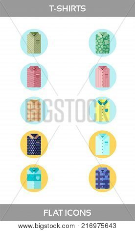 Simple Set of Clothes and shopping Vector flat Icons without outline. Contains such Icons as t-shirt of different patterns