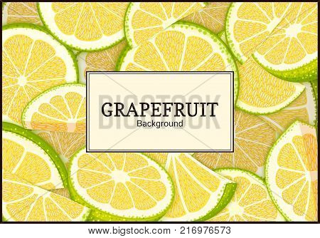 Rectangular label on citrus grapefruit background. Vector card illustration. Tropical juicy green pomelo frame peeled piece of half slice for design of food packaging juice breakfast, tea diet juce