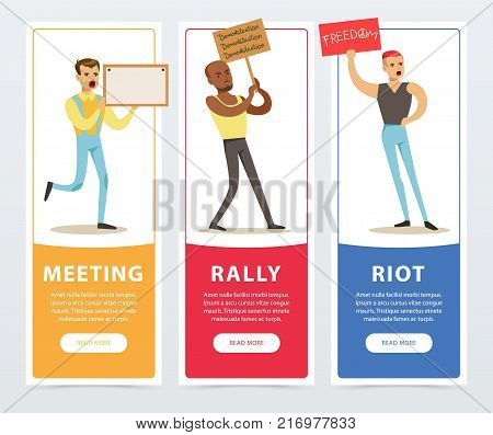 Meeting, rally, riot banners set, people holding picket signs, expressing demands and protesting flat vector elements for website or mobile app with sample text