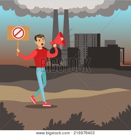 Man protesting standing on air pollution background, environmental pollution, ecology concept flat vector illustration, web banner