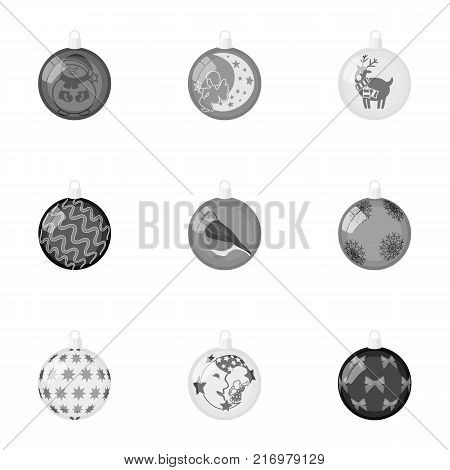 Toys for a Christmas tree monochrome icons in set collection for design.New Year ballsvector symbol stock  illustration.