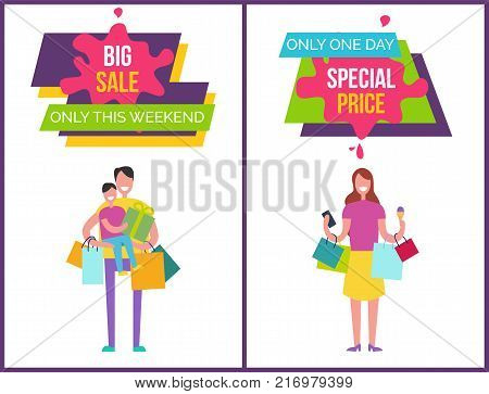 Big sale only this weekend, only one day special price posters with images and headline samples in frames vector illustration isolated on white