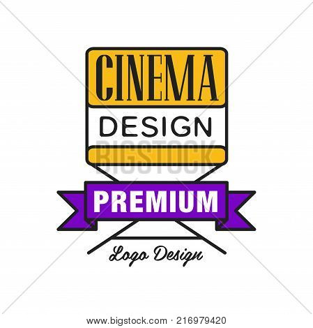 Colorful geometric cinema or movie logo template creative design. Cinematography emblem concept with yellow film director's chair and purple ribbon. Flat line style vector icon illustration.