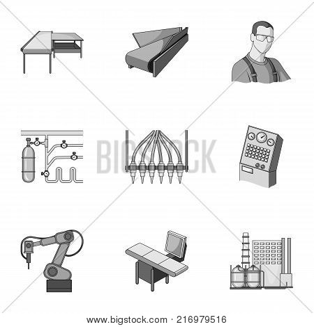 Factory equipment and machines and other  icon in monochrome style.New production technologies icons in set collection.