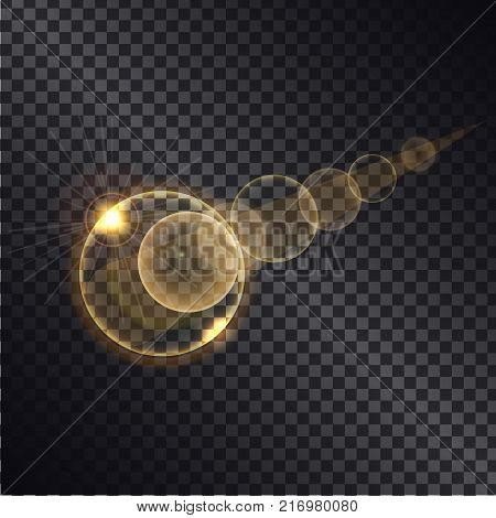 Golden light effects of circles growing round spheres isolated on black transparent background. Glowing sparkling elements, vector illustration of gold balls on transparency magically illuminated
