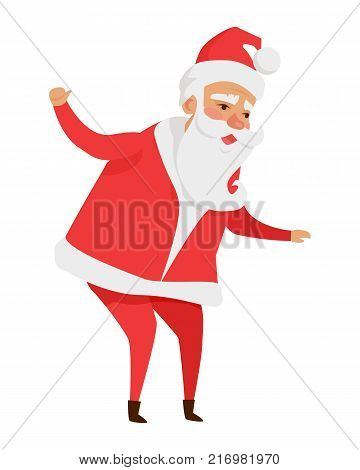 Santa Claus with stretched arms isolated on white. Father Christmas decorative statue in cartoon design. Funny magic character in flat. Saint Nick vector illustration in winter holiday concept.