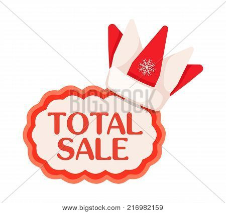 Total sale tag with red-white crown with snowflake in Santa Claus style on top. Flat vector illustration of traditional seasonal price discount festive label with red wavy contour in cartoon style.