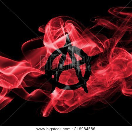 Anarchy smoke flag isolated on a black background