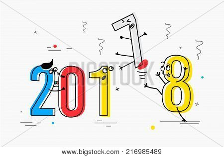 2018 New Year flat line design concept for greeting card and banner. Funny cartoon interpretation to the outgoing 2017 vector illustration isolated on white background.