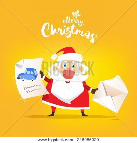 Santa Claus receive a letter of wish about car. Vector, illustration, flat