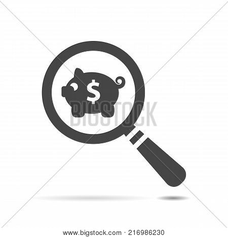 search flat icon of black piggy bank, search icon design, search icon web, vector magnifying glass
