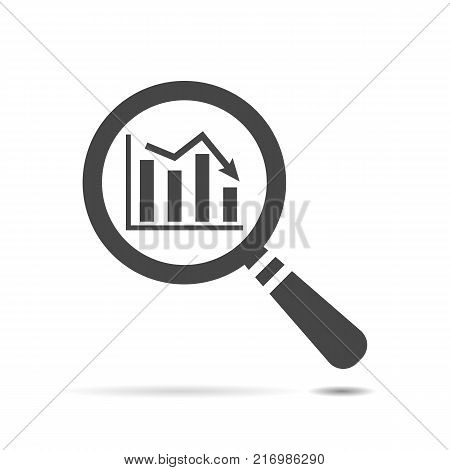 flat search icon of graph going down, search icon web, vector magnifying glass