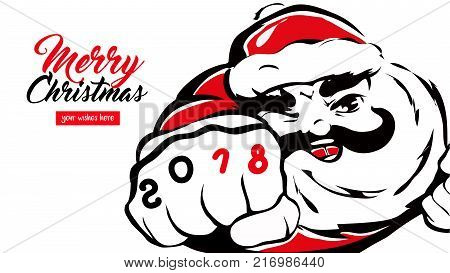 cartoon Santa Claus greeting card happy new year 2018 place for your wishes. father christmas smiles Merry X-mas concept banner calendar postcard invitation Vector illustration isolated on background.