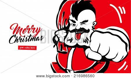 Hipster cool Santa Claus, greeting card place for your wishes. father christmas in red hat. Merry X-mas. The concept banner calendar postcard invitation. Vector illustration isolated.