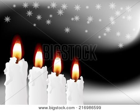 Four white candles on the black background