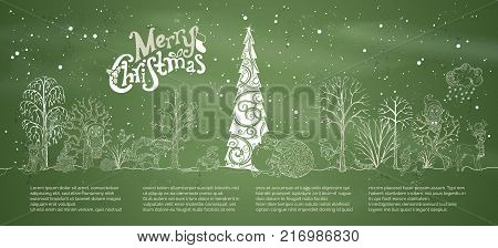Vector chalk Merry Christmas background. Woodland animals in hats and scarfs and trees on green blackboard background. Christmas tree in winter forest. Santa Claus with big sack full of gifts.