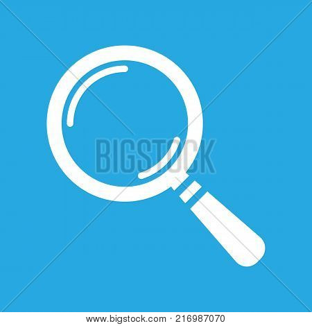 white search icon flat on a blue background, search icon design, search icon web, vector magnifying glass