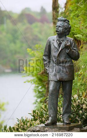 BERGEN, NORWAY - JUNE 05, 2012: Exterior of the sculpture of the famous Norwegian composer Edvard Grieg in Troldhaugen in Bergen, Norway.