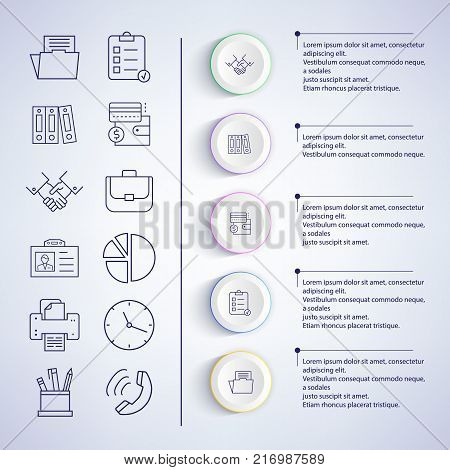 Infographic set of icons, images of paper and handshake, phone and pencil, pen and diagram, with text sample on vector illustration