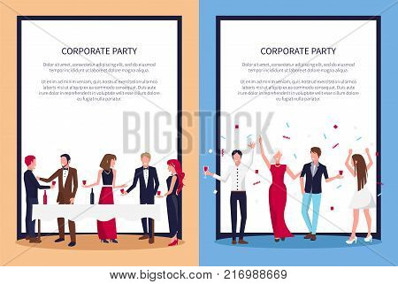 Corporate party posters set with text sample and people drinking wine and raising hands with confetti above, vector in frame, teambuilding concept