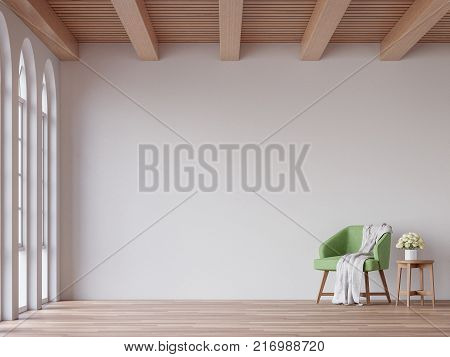 Scandinavian living room 3d rendering image.The Rooms have wooden floors and ceilings with white walls and arch windows.The room is furnished with green fabric lounge chair.