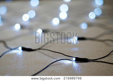 Christmas garland with white lights, Boke, Christmas and new year