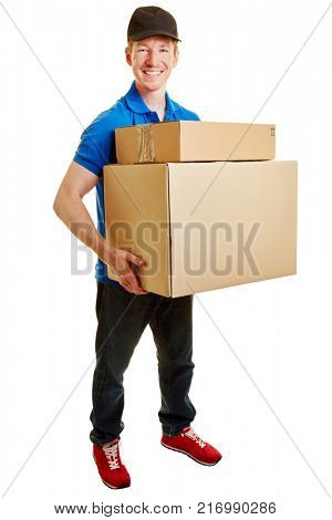 Mailman bringing packages from a parcel service company