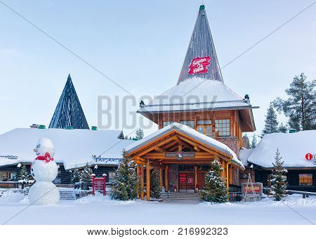 Rovaniemi Finland - March 5 2017: Snowman at Santa Office at Santa Claus Village Rovaniemi Lapland Finland on Arctic Circle in winter. Outoor