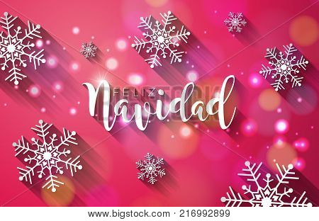 Christmas Illustration with Spanish Feliz Navidad Typography with Long Shadow and 3d Snowflake on Shiny Red Background. Vector Holiday Design for Premium Greeting Card, Party Invitation or Promo Banner