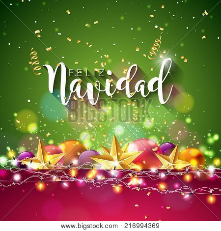 Christmas Illustration with Spanish Feliz Navidad Typography and Gold Cutout Paper Star, Ornamental Ball on Shiny Blue Background. Vector Holiday Design for Premium Greeting Card, Party Invitation or Promo Banner poster
