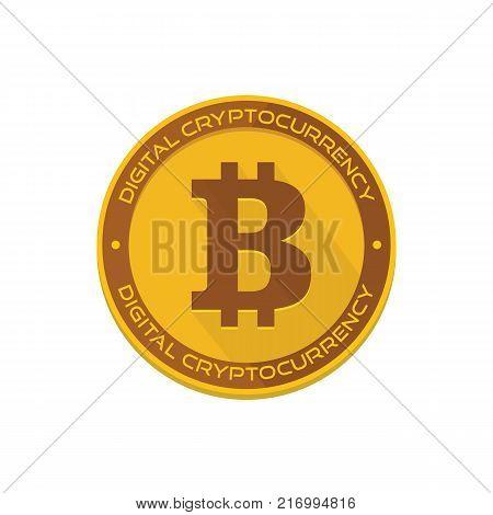 Cartoon golden bitcoin coin vector illustration for fintech net banking and blockchain concept. Golden bitcoin money, internet finance coin vector illustration