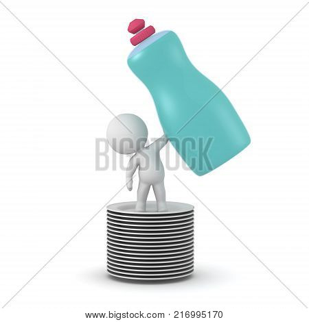 3D character standing on some plates holding a large bottle of dish soap. Isolated on white background.