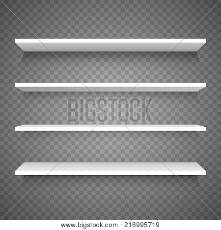 Empty white shop shelf on transparent background, retail shelves, 3d store wall display vector illustration for shop design